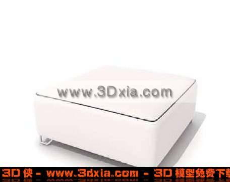 白色美观的沙发凳3D模型