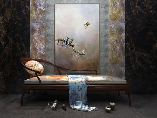 新中式贵妃椅 新中式贵妃椅 新中式椅子 躺椅 中式躺椅 挂画 花鸟挂画