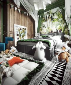 现代卧室儿童房3D模型