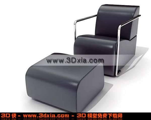 黑色舒适的真皮单人沙发3D模型