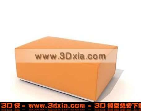 橙色沙发凳3D模型