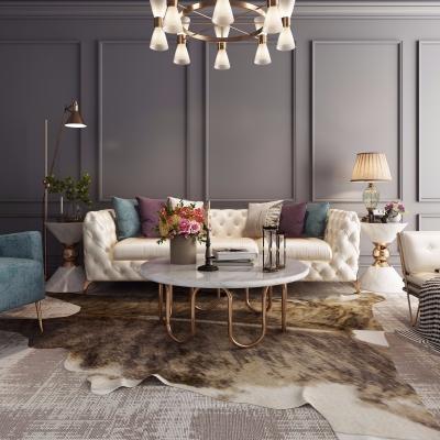 后现代轻奢皮革沙发茶几吊灯组合3D模型