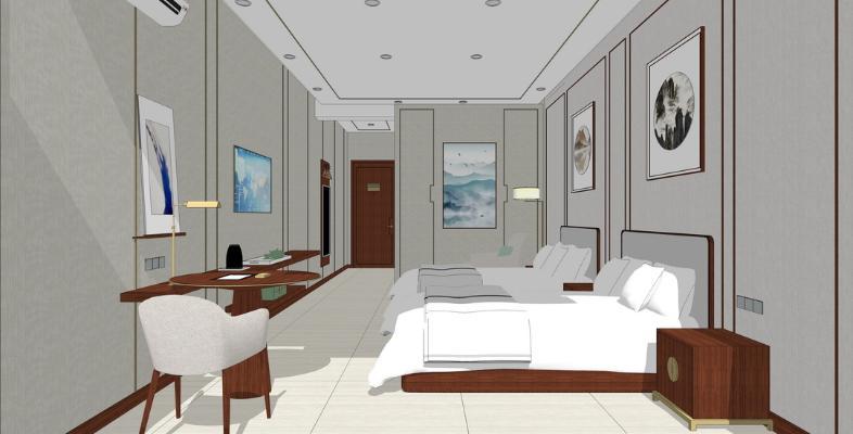 新中式客房SU模型