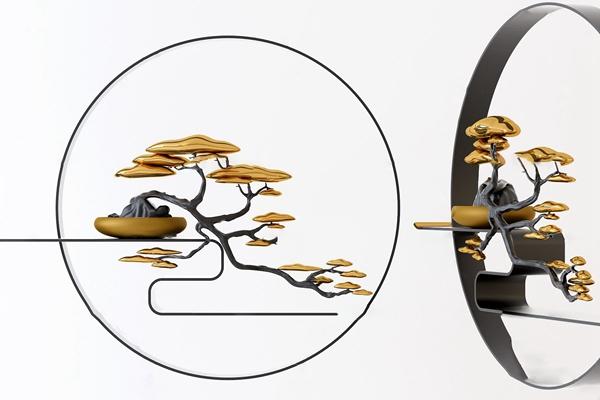 新中式金属迎客松墙饰挂件3d模型