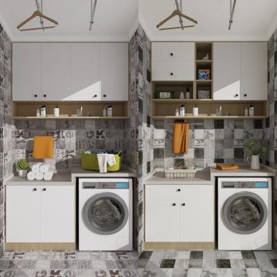 现代洗衣机装饰柜摆件组合3D模型