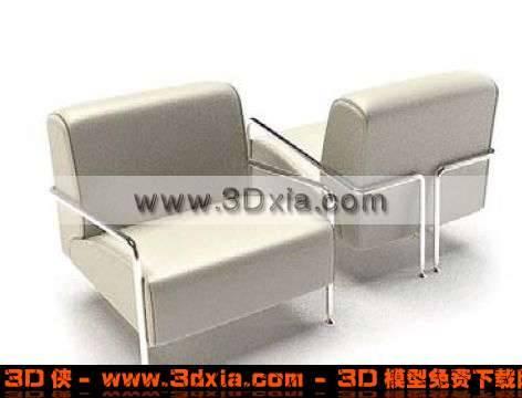 时尚简约的白色单人沙发模型