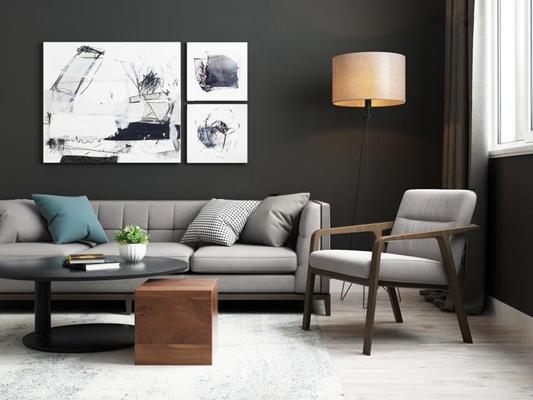 后现代客厅 后现代客厅 沙发 茶几 落地灯