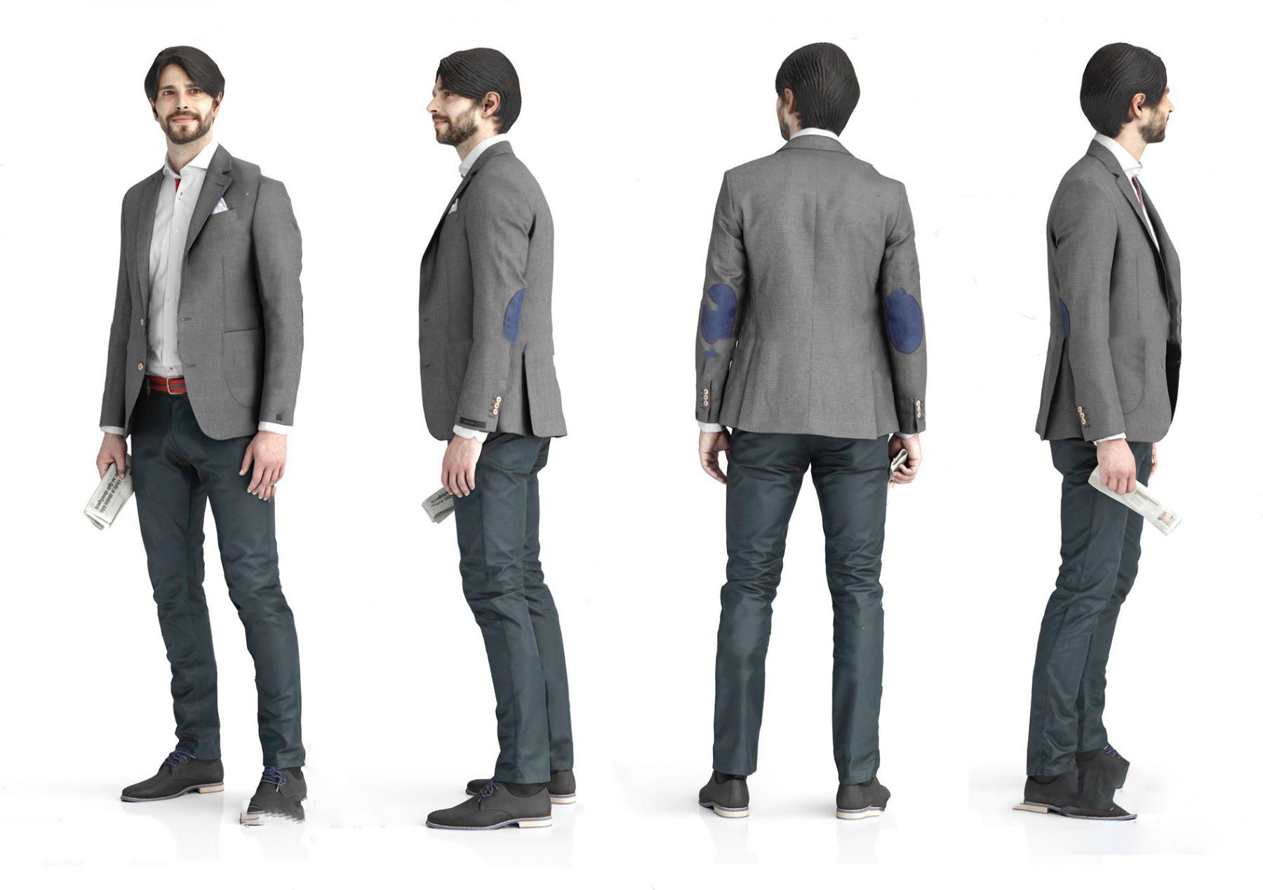 现代男士商务办公人物3d模型