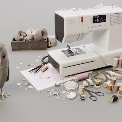 现代缝纫机剪刀线圈玩偶组合3D模型