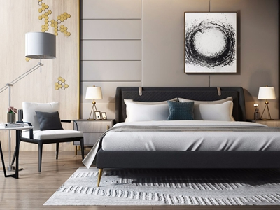 现代双人床休闲椅组合 现代双人床 床头柜 休闲椅 落地灯 圆几 台灯 画
