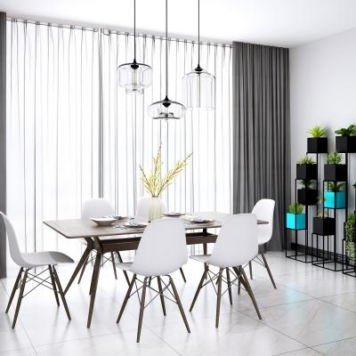 北欧实木餐桌椅吊灯盆栽摆件3D模型