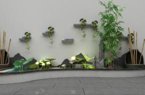 新中式小池塘荷花3D模型