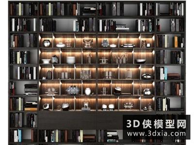 现代书柜装饰品组合