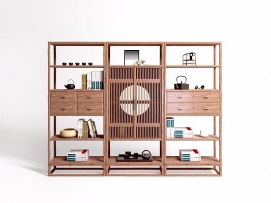 雅宝阅界新中式装饰柜 新中式装饰柜 组合柜子 高柜 边柜 茶壶 茶具 书 摆件 雅宝 阅界