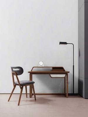 吴滨设计 新中式未墨书桌椅落地灯组合 新中式书桌椅 落地灯 单椅 餐椅 电脑桌