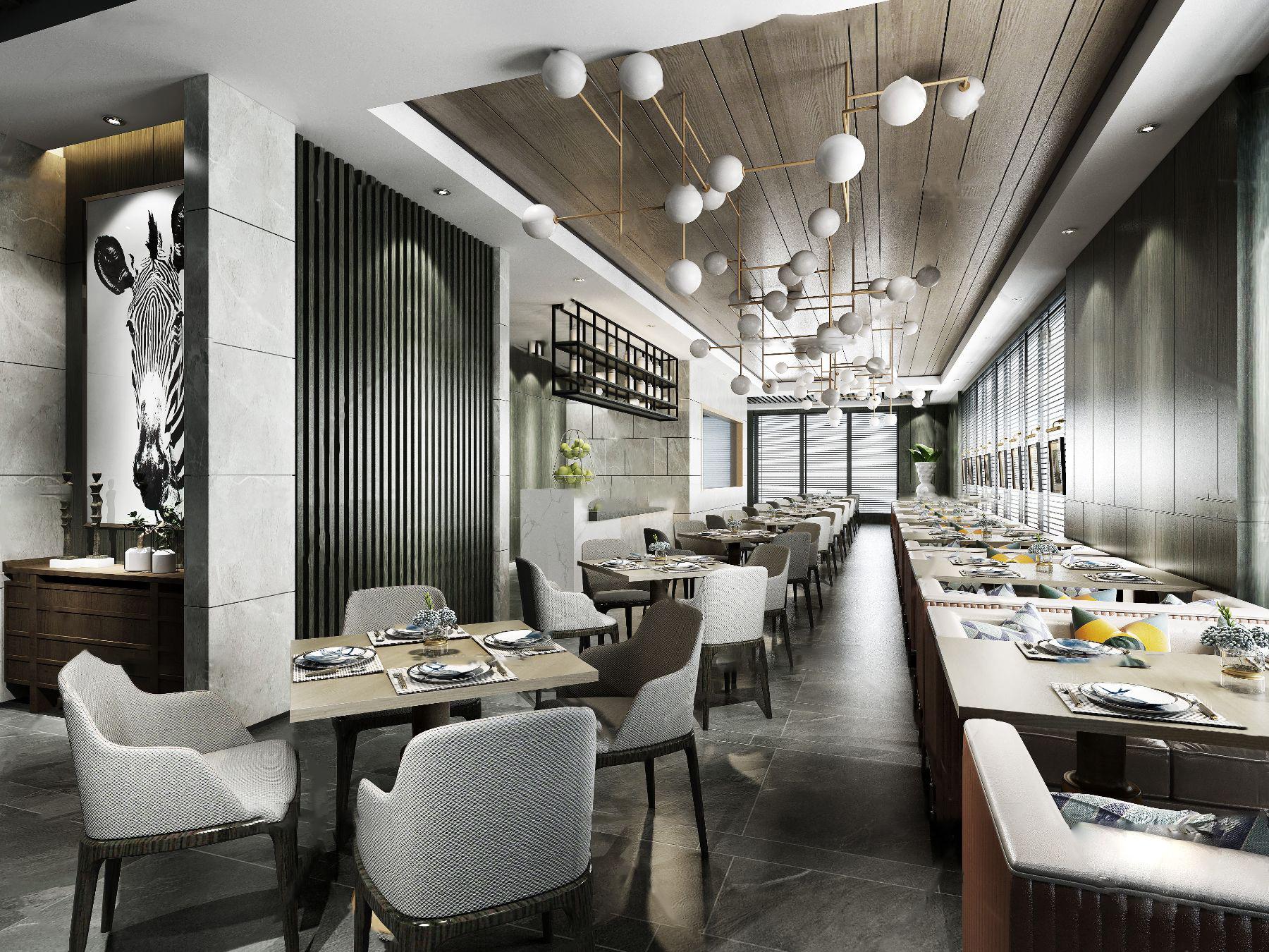 现代西餐厅3d模型