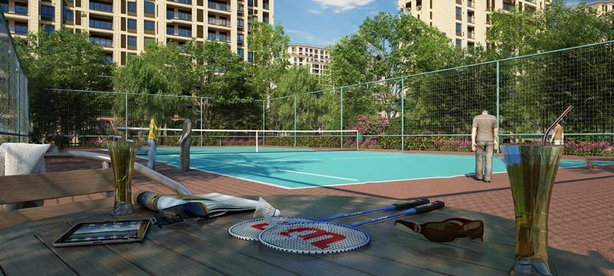 现代羽毛球场3D模型