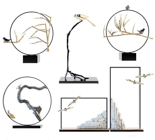 新中式擺件裝飾品 新中式擺件 裝飾品 竹 鳥