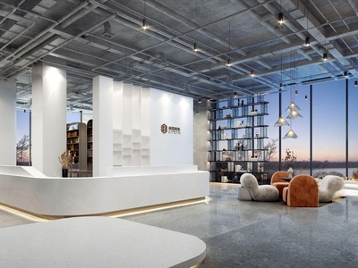 现代装饰公司大堂前台3d模型