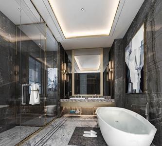 现代卫生间 现代卫浴 洗手台 镜子 淋浴间 挂画 浴缸 毛巾 壁灯 马桶