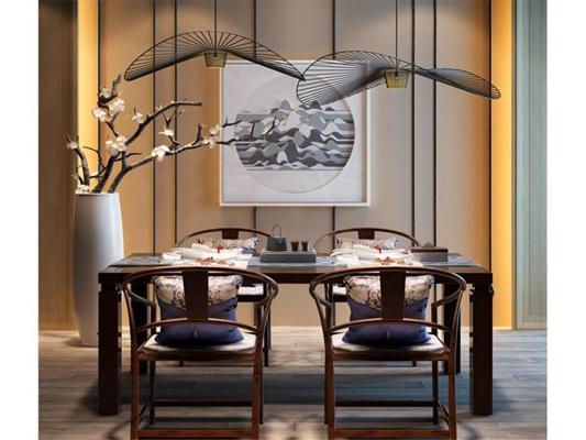 现代新中式餐厅餐桌椅植物吊灯挂画组合 新中式餐桌椅 吊灯 盆栽 挂画 茶具
