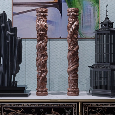 新中式龙纹摆件 新中式盘龙柱 雕塑 新中式边柜