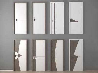 现代房门单开门3d模型