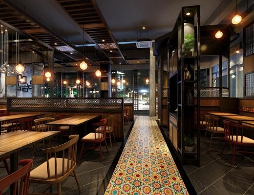 现代简约餐厅天天中 现代餐厅 餐桌椅 吊灯 装饰架 挂画 绿植
