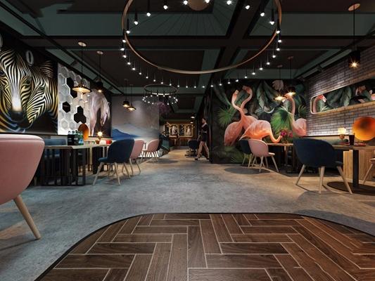 北欧休闲酒吧清吧咖啡厅 北欧咖啡厅 餐桌椅 吊灯 收银台 吧台 吧椅 绿植 人物 模特 酒吧 娱乐会所 休闲酒吧 清吧 夜店