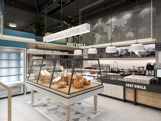 咖啡蛋糕店 咖啡厅 蛋糕店 收银台 吊灯 橱窗 蛋糕架 圆形沙发 卡座 单椅 操作台 水吧台