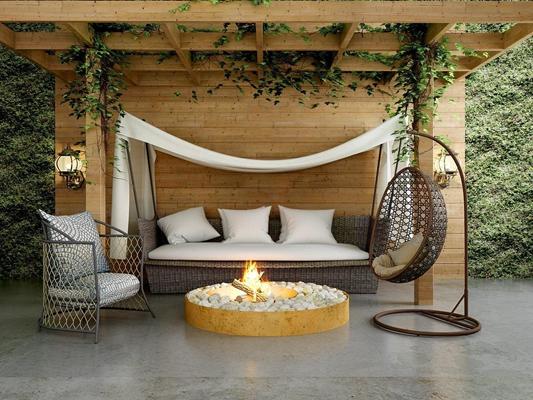 室外藤制沙发吊椅火盆组合 现代沙发 藤制沙发 藤制吊椅 沙发椅 火盆 帷幔 壁灯 绿植