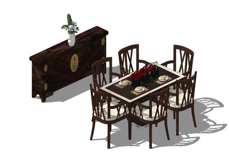 中式餐桌餐边柜组合SU模型