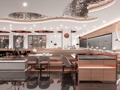 新中式中餐厅3d模型