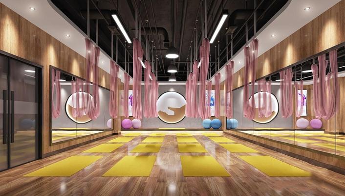 工业风瑜伽房 工业风娱乐会所 瑜伽房 瑜伽垫