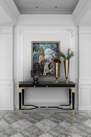 现代锦上空间--moon light 月光彼岸玄关 现代玄关 挂画 摆件 边柜