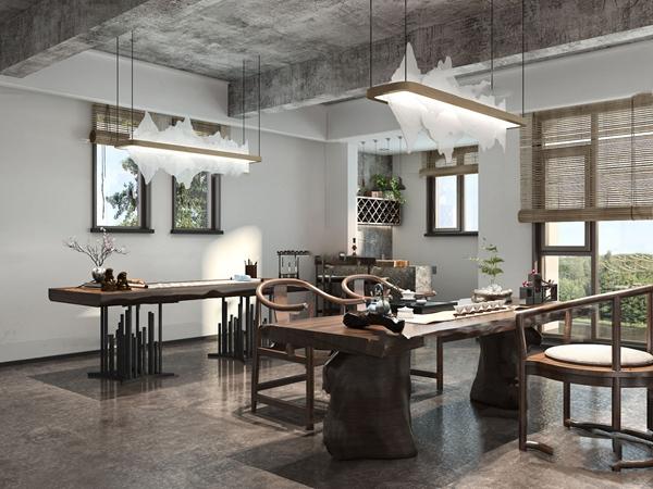 新中式书房茶室3d模型