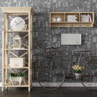 北欧装饰柜复古自行车摆件组合3D模型