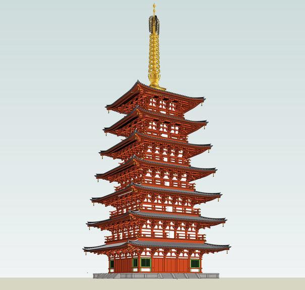 Seven pile in Todaiji Temple towerSU模型