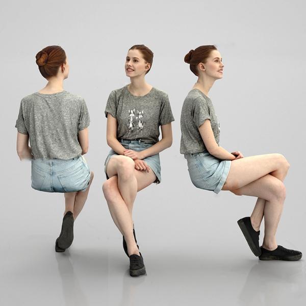 现代坐姿欧洲女性3d模型