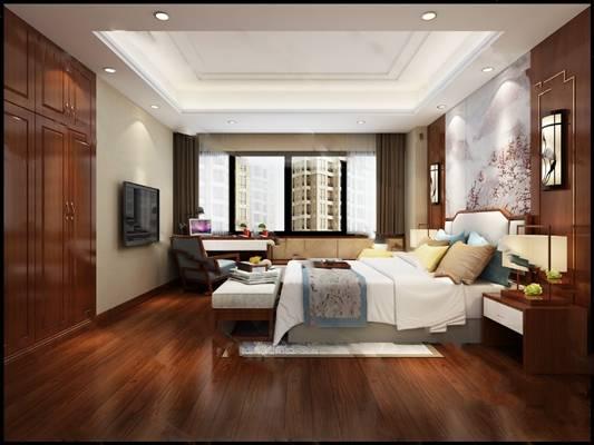 中式卧室3D模型 双人床 背景墙 桌椅组合