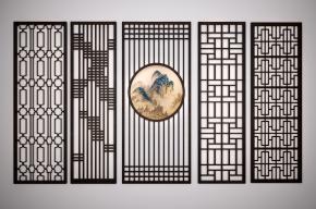 中式实木屏风隔断组合3D模型
