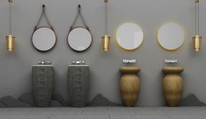 新中式洗漱台盆吊灯组合3D模型