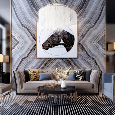 后现代布艺沙发组合3D模型