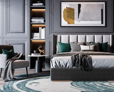 现代轻奢双人床椅子床头柜组合 现代双人床 床头柜 单椅 休闲椅 挂画 金属摆件 书籍 布艺床具 床品