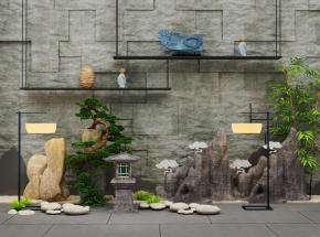 中式假山松树摆件户外灯落地灯景观小品3D模型