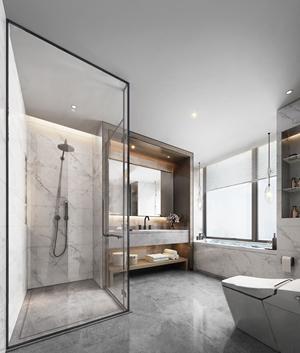现代简约卫生间 现代卫浴 马桶 洗手台 淋浴房