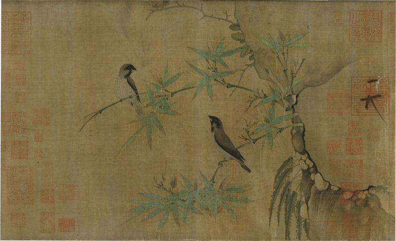 赵佶-竹禽图绢本33.8x55.4