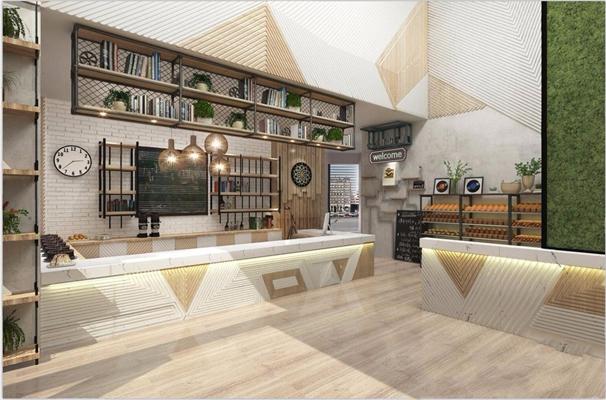北欧蛋糕店收银台 北欧餐饮空间 收银台 货架 挂钟 面包 绿植