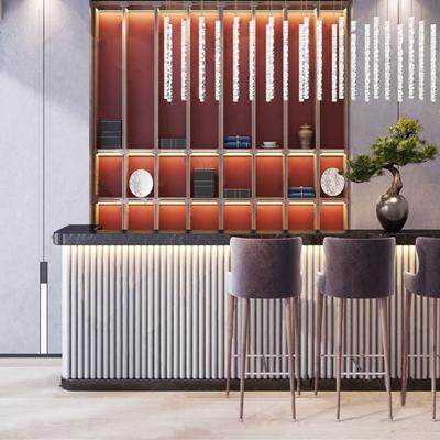 新中式吧台 新中式吧台 吧椅 装饰柜 吊灯 盆栽 松树 摆件