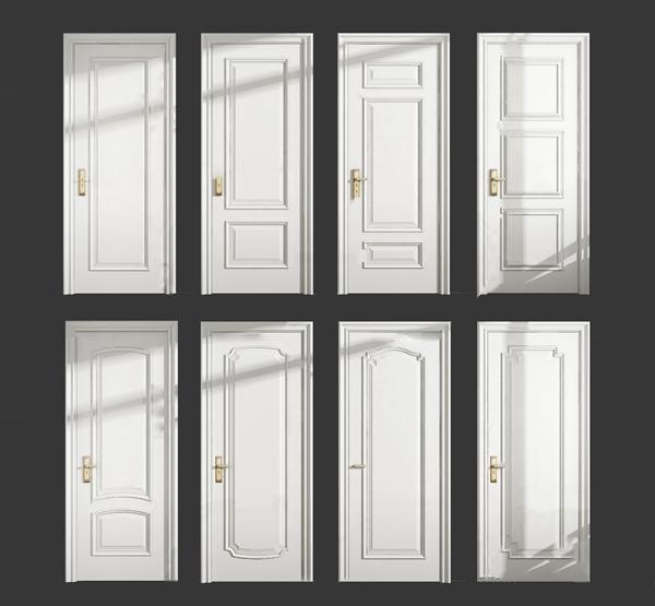简欧单开门房门3d模型